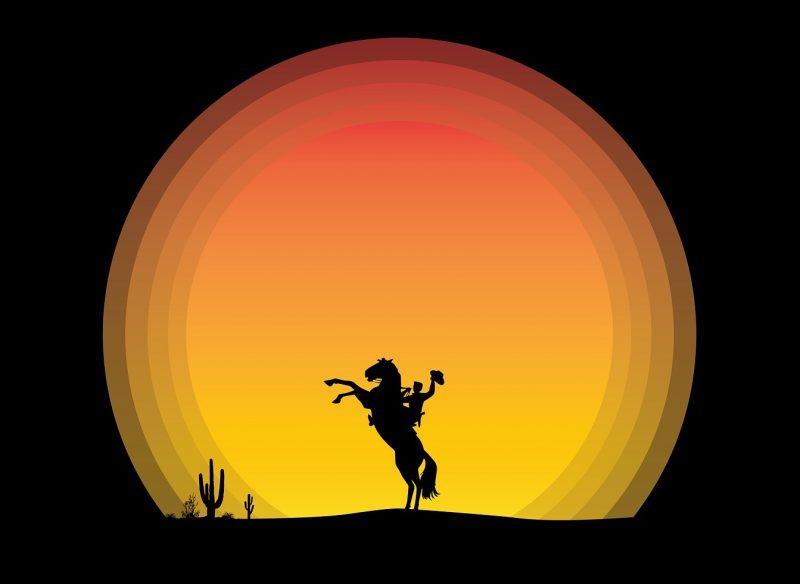 Sunset horse.