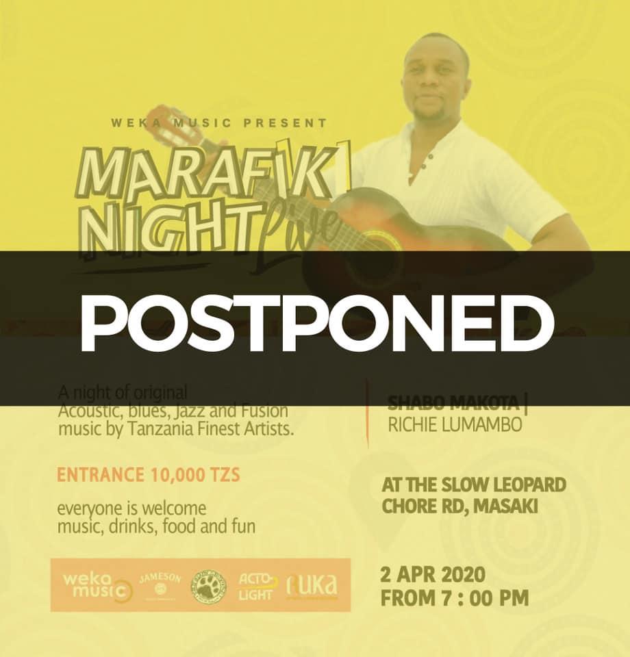 """Affiche de Marafiki Night Live, avec un bandeau noir """"reporté"""""""