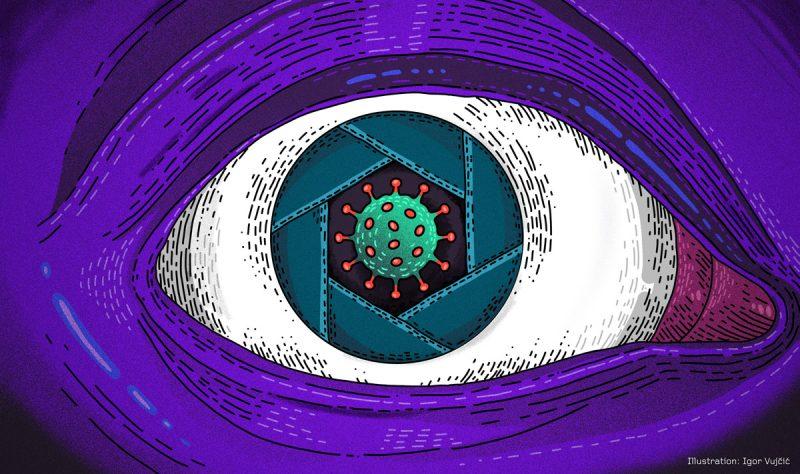 une cellule virale enchâsée dans un oeil immense