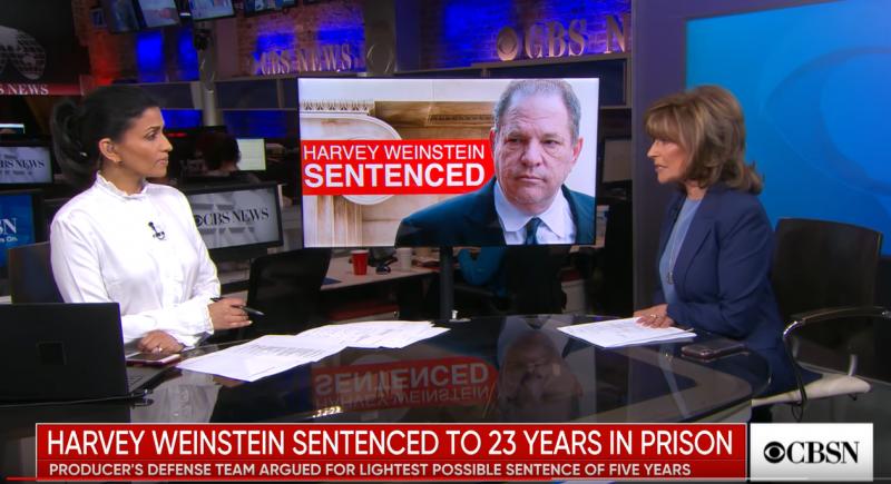 Sur le plateau de CBSN, discussion sur la condamnation de Harvey Weinstein.