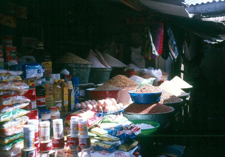 un étal de marché au Nigéria