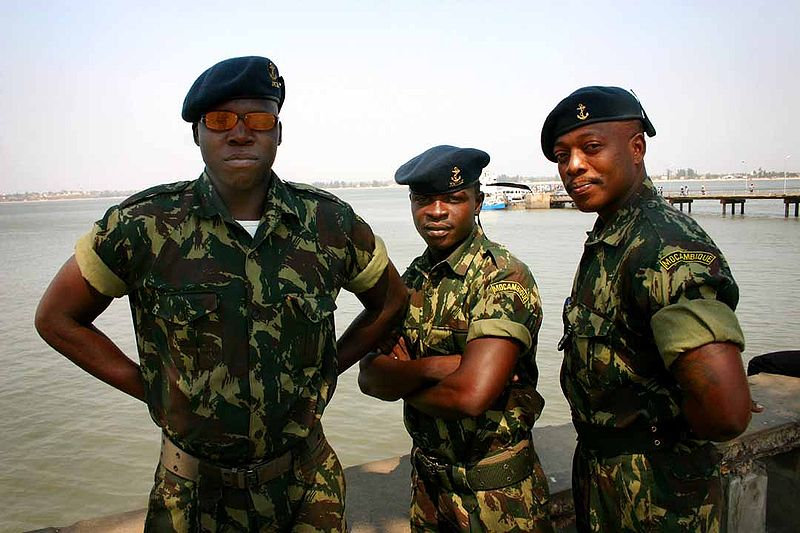 "Mozambique army personnel. Photo by <a href=""https://www.flickr.com/photos/babasteve/46343337/in/set-781190"">Steve Evans</a>, <a href=""https://creativecommons.org/licenses/by-nc/2.0/"">CC-BY 2.0</a>"