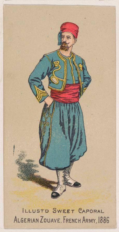 """Dessin d'un """"zouave"""". Il porte un uniforme bouffant bleu, une ceinture et un chapeau rouges. Il se tient deout, les mains sur les hanches."""