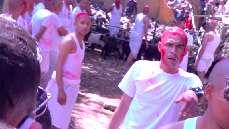 Extrait du documentaire de Saprina Pandey. Des hommes habillés en blanc, le crâne badigeonné de rouge.