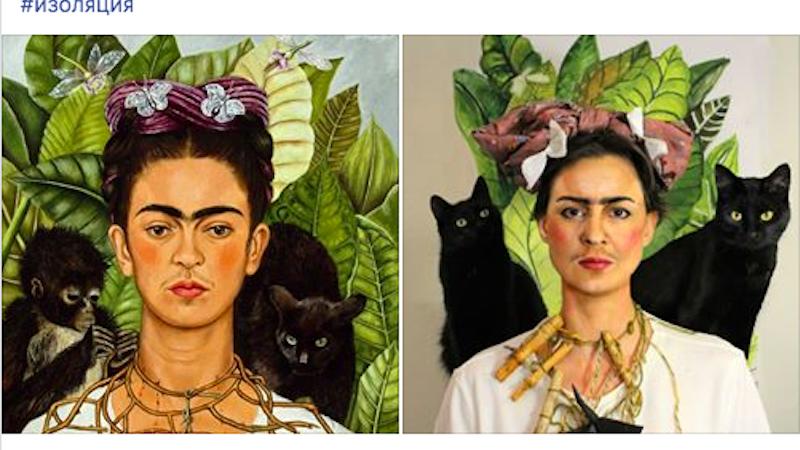 Autoportrait de Frida Kahlo avec un collier d'épines, entourée de deux chats noirs, sur fond de nature luxuriante