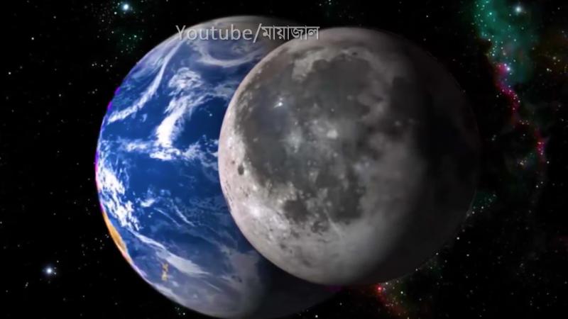Vu de l'espace, la Lune se est positionnée devant la Terre sur fond de galaxies illuminées.