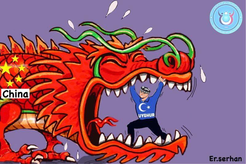 Illustration de Ershat Abdul'ehed pour symboliser la lutte du peuple ouïghour contre sa persécution en Chine.