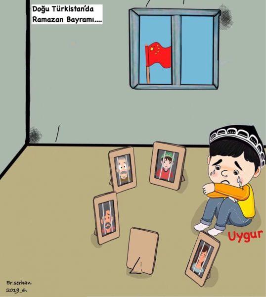 Dessin : un petit garçon ouïghour seul dans une petite pièce avec une fenêtre d'où l'on voit le drapeau chinois pleure entouré de cadres de photos de proches derrière les barreaux.