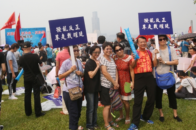 Dans un parc, des manifestants pro-Beijing posent avec leurs pancartes