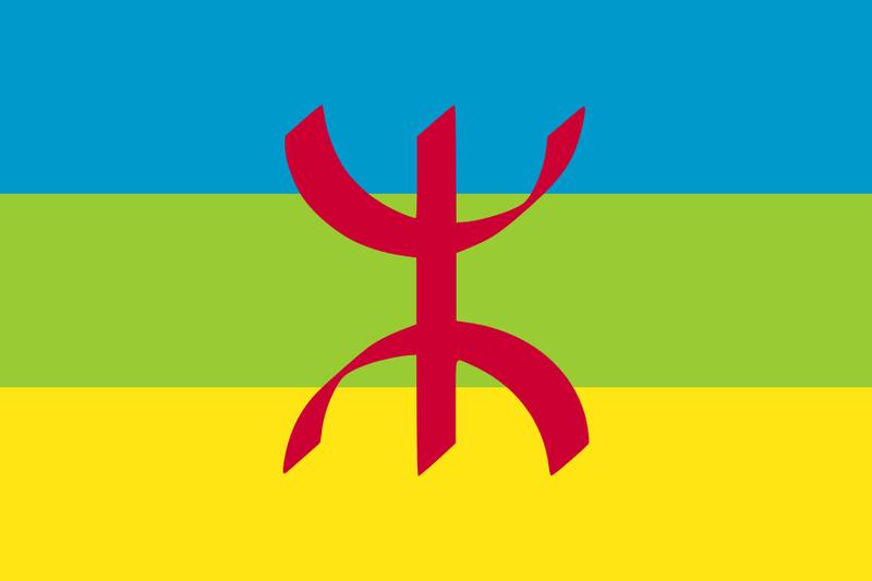 Drapeau amazigh : trois bandes horizontales (bleu, vert, jaune) avec le symbole amazigh en rouge au milieu.