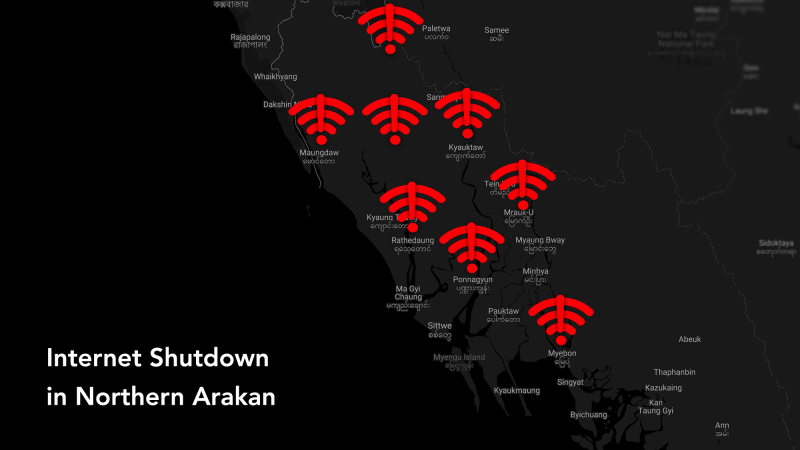 A geographical overview of towns where the internet has been blocked in northern Arakan. Image from EngageMedia