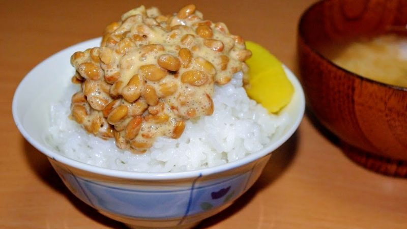 natto over rice with miso soup