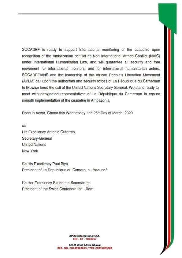 La déclaration de cessez-le-feu de l'armée indépendantiste du Sud-Cameroun est adressée au secrétaire général des Nations unies et au président camerounais.