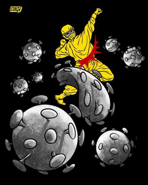 Une personne à l'allure de super-hero combat des virus.