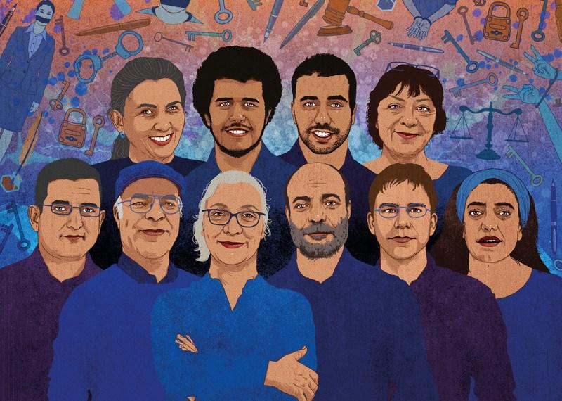 Illustration des membres du groupe #Istanbul10, souriants, sur fond de symboles de justice et d'emprisonnement.