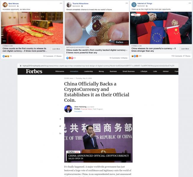 Пример объявления в Facebook, рекламирующего фэйковую статью Forbes.com, в реальности ведущее на вебсайт мошенников. Изображение предоставлено Meta.mk.