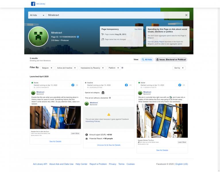 """ИнструментыFacebook """"прозрачность страницы"""" демонстрируют, что тематическая стриница Минекравт используется мошенниками, как платформа для рекламы."""