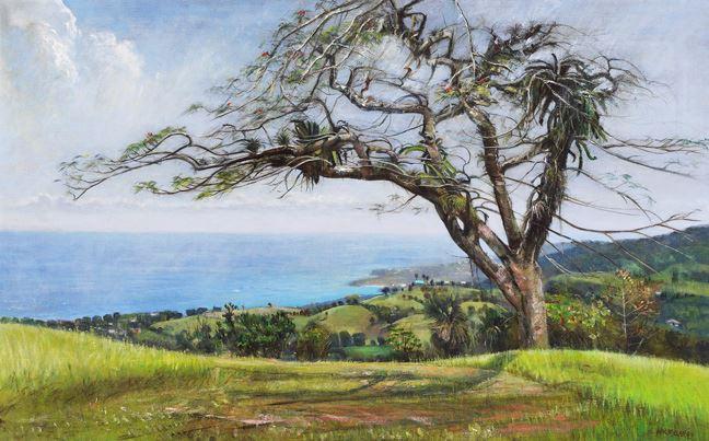 Un arbre s'étend au centre d'une campagne verdoyante avec la mer au fond. Les tons sont lumineux.