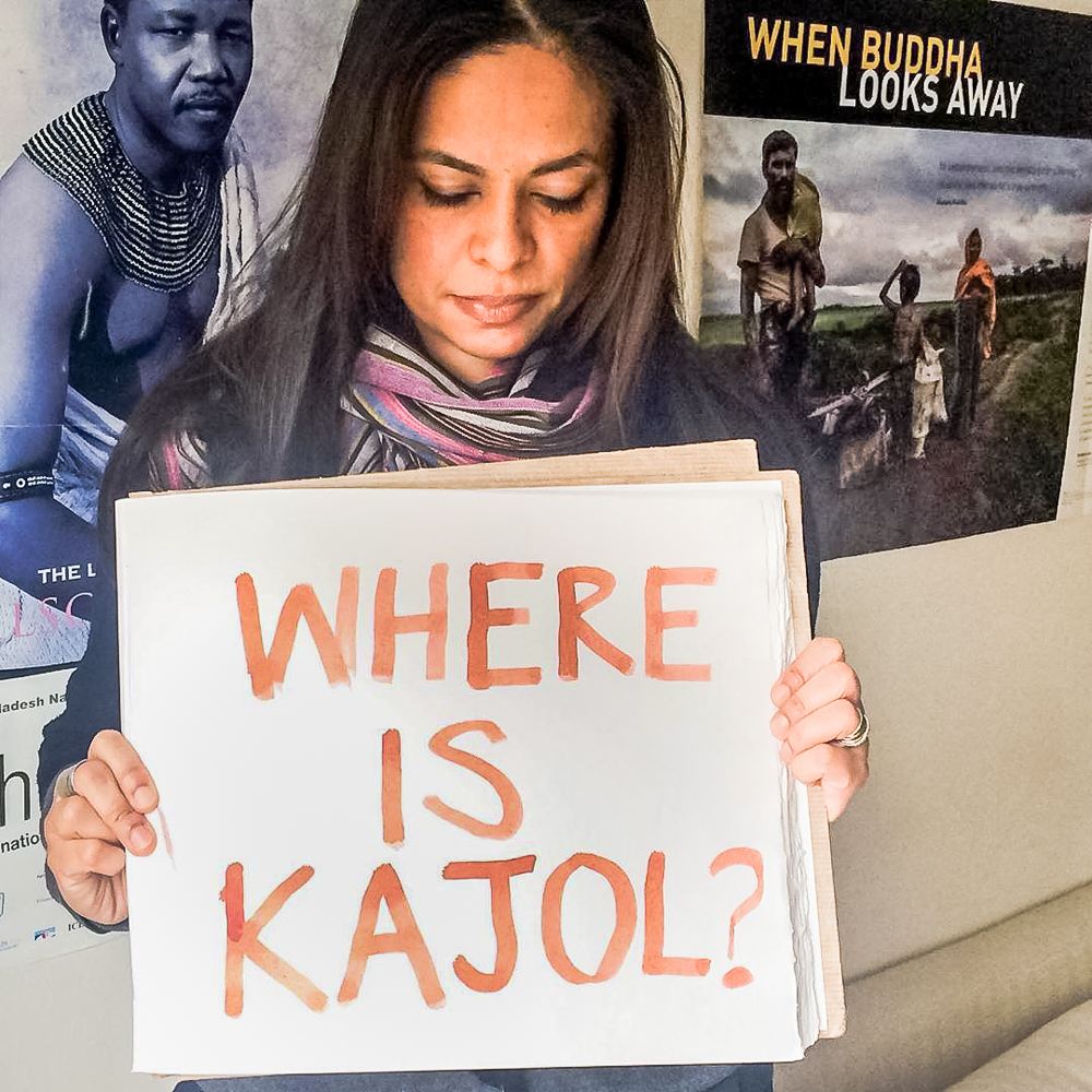 """Bangladeshis on social media protested Kajol's disappearance holding a banner, """"Where is Kajol"""". Image via Instagram by Sofia Karim. Used with permission."""