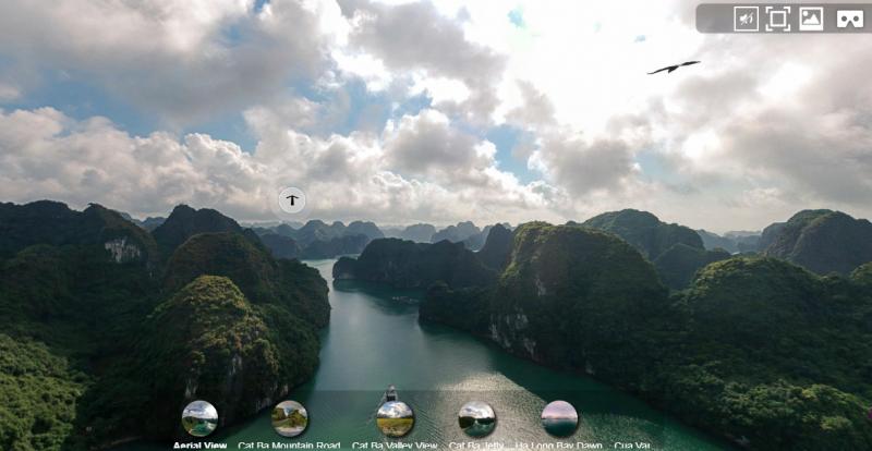 La Baie d'Hạ Long en vue plongeante, sous un ciel nuageux.