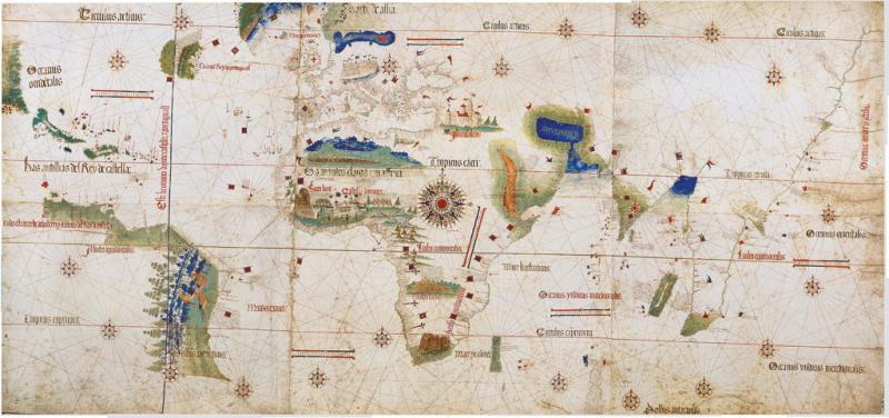 Le planisphère de Cantino, une carte montrant les détails des lieux visités par Christophe Colomb, Pedro Álvarez Cabral et Vasco de Gama.