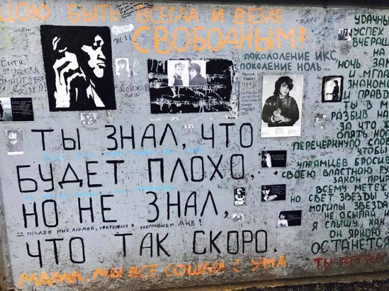 Il s'agit d'un mur rendant hommage a Viktor Tsoi. Il y a plusieurs photos et dessins du chanteur ainsi que de nombreuses inscriptions en russe, certaines dans les tons orangés et, la plupart en noir. Quelques inscriptions sont visibles en gros caractères.