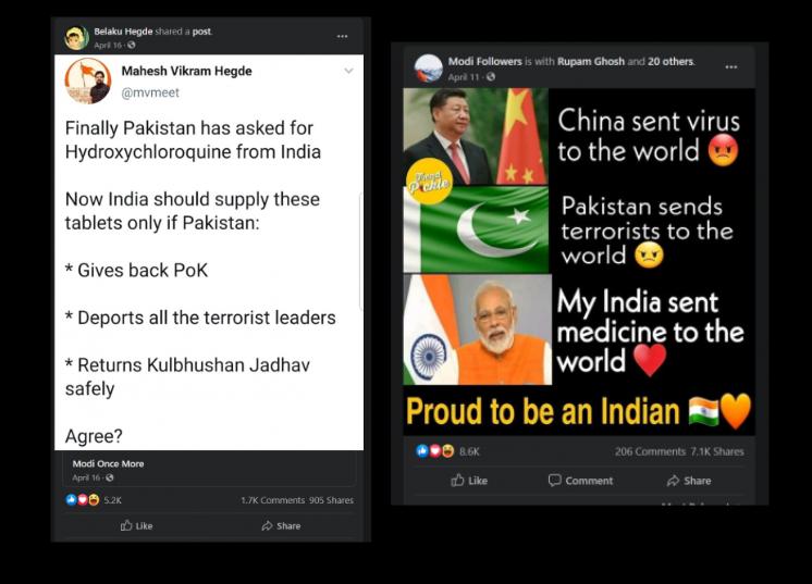 Capture d'écran de comptes Facebook prenant à parti la Chine et le Pakistan et valorisant l'Inde.