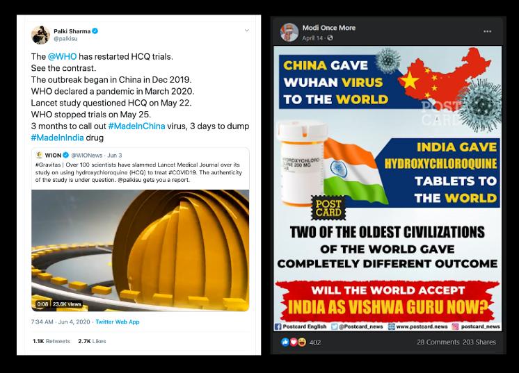 Capture d'écran de comptes Facebook prenant à parti l'OMS et valorisant l'Inde.