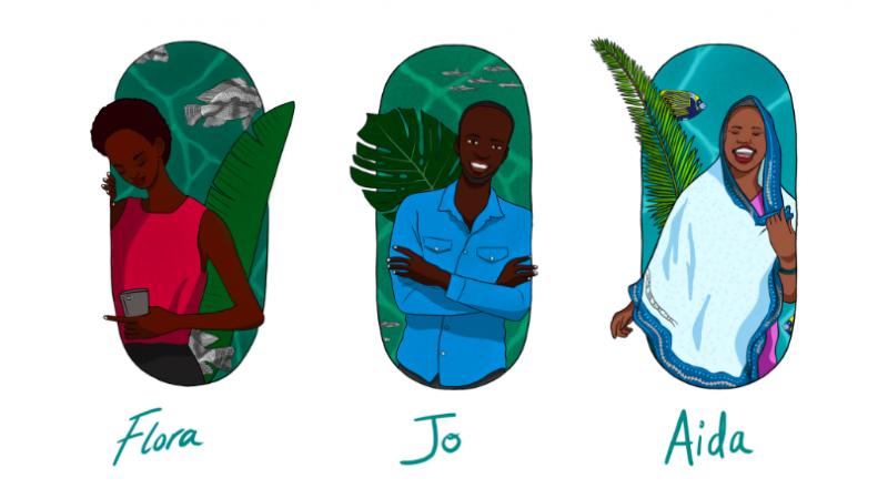 Dessin digital qui montre les trois personnages du jeu, Flora, Jo et Aida.