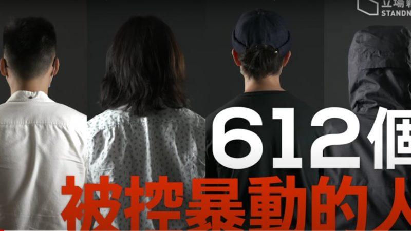 Quatre images, collées les unes aux autres, montrant quatre jeunes de dos. En gros caractères, le nombre 612, désigne le nombre de personnes arrêtées et inculpées.