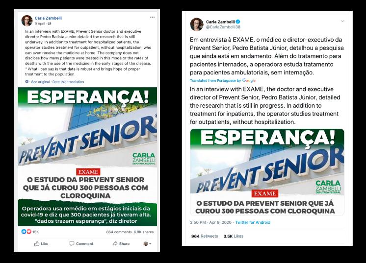 Deux captures d'écrans des comptes Twitter et Facebook de la députée Carla Zambelli. Les publications comprennent des images de la façade de la clinique Prevent Senior.