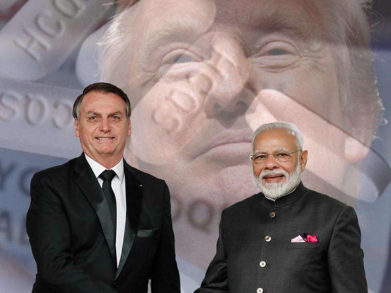 Une photo de Jair Bolsonaro et de Narendra Modi se serrant la main superposée à une image du visage de Donald Trump et de cachets d'hydroxychloroquine en arrière-plan et en filigrane.