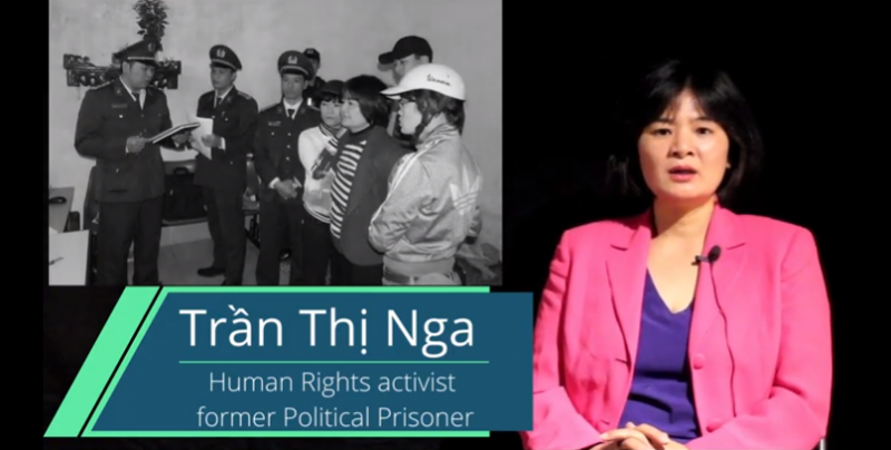 Image de Tran Thi Nga aujourd'hui, accolée à une photo en noir et blanc lors de son arrestation.