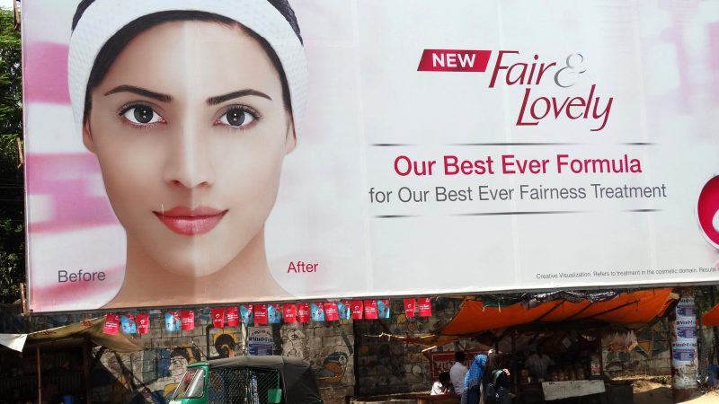 Fair and Lovely - Billboard for Skin-Whitening Cream - Chittagong - Bangladesh. Image from Flickr by Adam Jones. CC BY-SA 2.0.