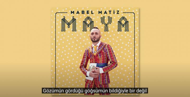 Le musicien Mabel Matiz, en costume bariolé sur le fond jaune de la couverture de son album.