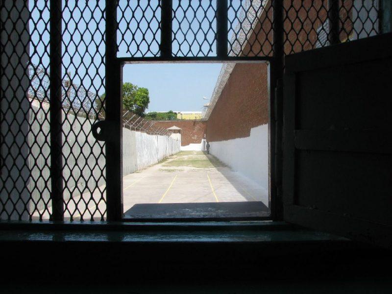 Derrière un grillage, une allée ensoleillée bordée par de hauts murs surmontés de barbelés.