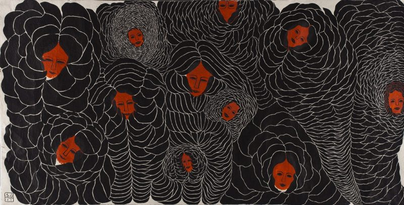 Night. Sleeping Beauties. ink on hand made paper, 155x300cm, 2011