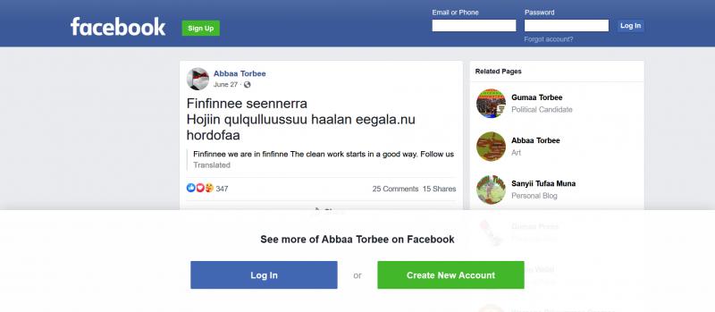 """Un message Facebook en oromo publié par Abba Torbee le 27 juin 2020, annonçant le début du """"nettoyage"""" de la capitale éthiopienne."""