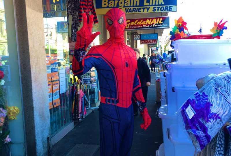 Spiderman jogging in East St Kilda