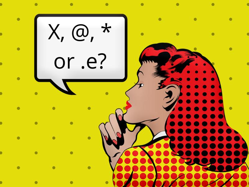 Image en style technicolor d'un femme, pensive. Le phylactère indique: x @ * ou .e ?