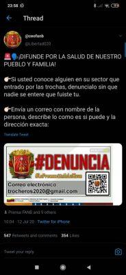 Tweet incitant les Vénézuéliens à dénoncer des migrants de retour au pays.