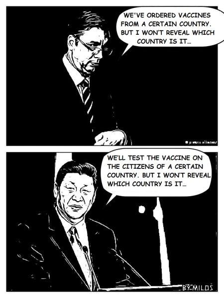 Deux vignettes de BD (noir et blanc), l'une en dessous de l'autre, qui montrent Aleksandar Vučić et Xi Jinping et deux bulles.