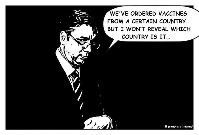 Une vignette de bande dessinée (noir et blanc), qui montre le président serbe et une bulle.