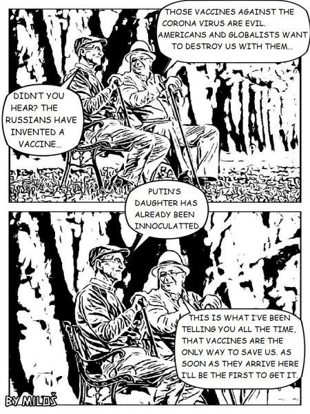Deux vignettes de BD (noir et blanc), représentant deux hommes âgés, assis sur un banc, engagés dans une discussion sur les vaccins contre le COVID-19.