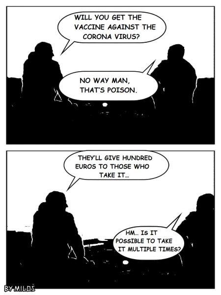Deux vignettes de BD (noir et blanc), représentant deux hommes assis de dos, qui discutent du vaccin contre le COVID-19.