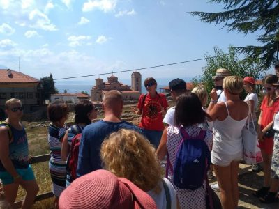 Justyna Mleczak and a group of Polish tourists in Ohrid, North Macedonia. Photo used with her permission.