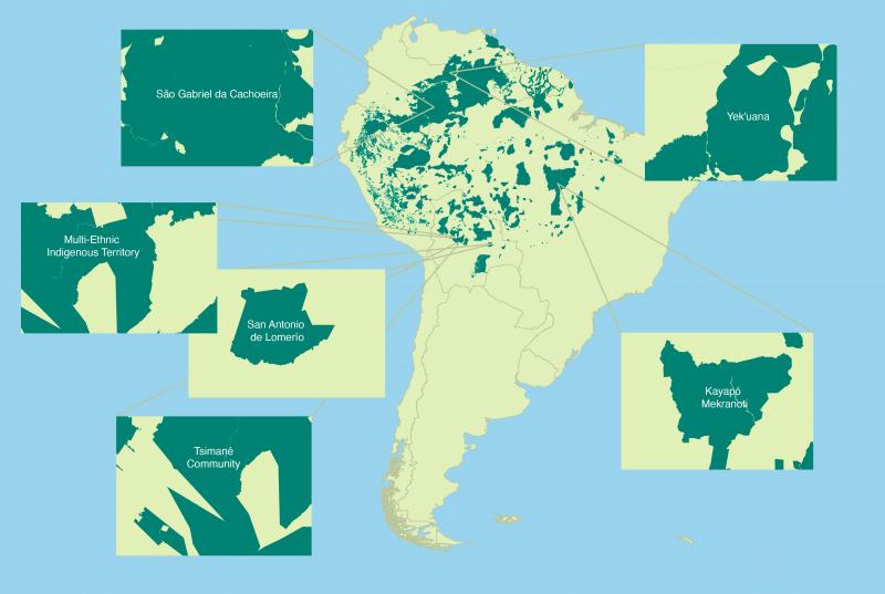 Carte d'Amérique du Sud montrant la localisation des différentes communautés indigènes au Brésil, en Bolivie et au Venezuela.