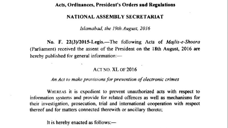 Prevention of Electronic Crimes Act (PECA) was passed by the National Assembly of Pakistan. in 2016. Screenshot from the Act.