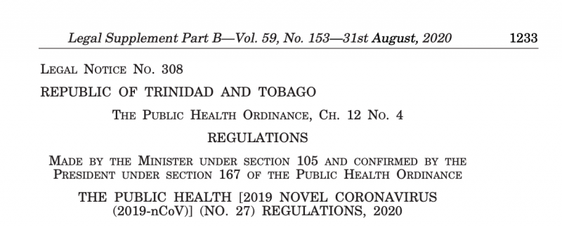 De nouvelles dispositions juridiques en vigueur depuis le 31 août à Trinité-et-Tobago, concernant la pandémie.