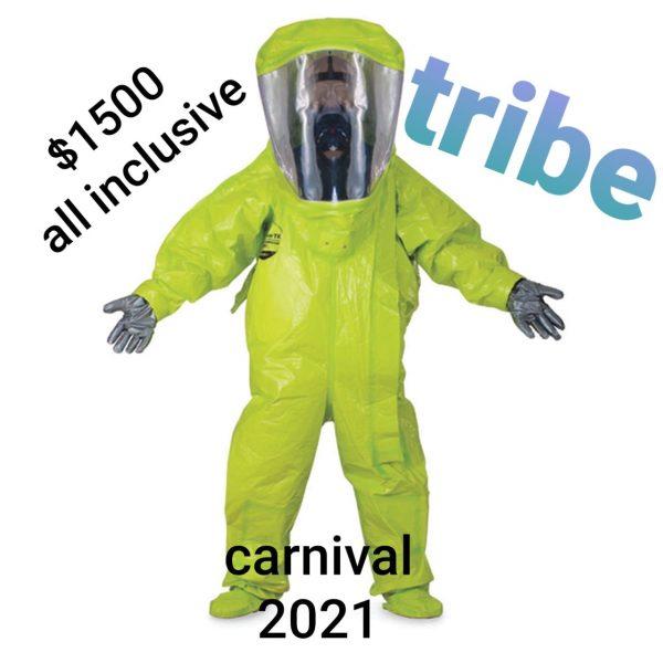 Mème sur le Carnaval 2021 de Trinité-et-Tobago, partagé très largement sur les réseaux sociaux.On y voit une personne en combinaison et masque intégral, la tenue à priori tendance pour l'édition 2021. « $1500 tout inclus, Tribu, Carnaval 2021»
